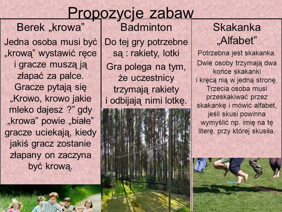 """Propozycje zabaw Berek """"krowa Badminton Skakanka """"Alfabet"""