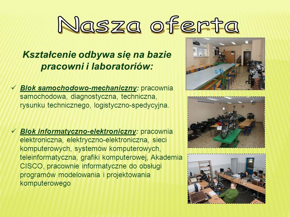Kształcenie odbywa się na bazie pracowni i laboratoriów: