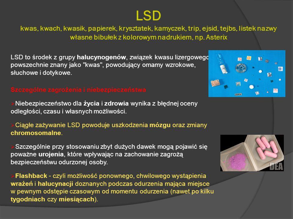 LSD kwas, kwach, kwasik, papierek, krysztatek, kamyczek, trip, ejsid, tejbs, listek nazwy własne bibułek z kolorowym nadrukiem, np. Asterix