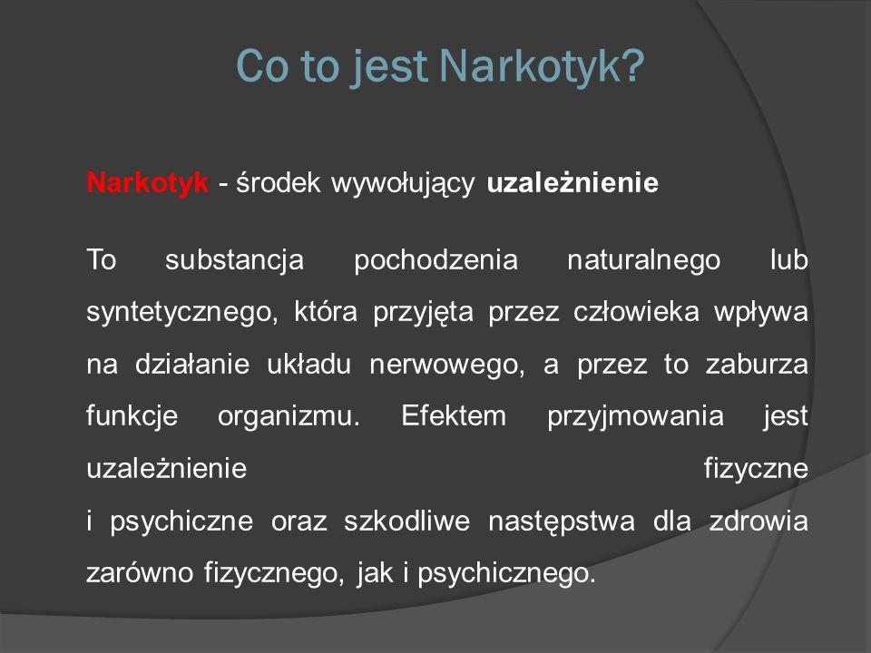 Co to jest Narkotyk Narkotyk - środek wywołujący uzależnienie