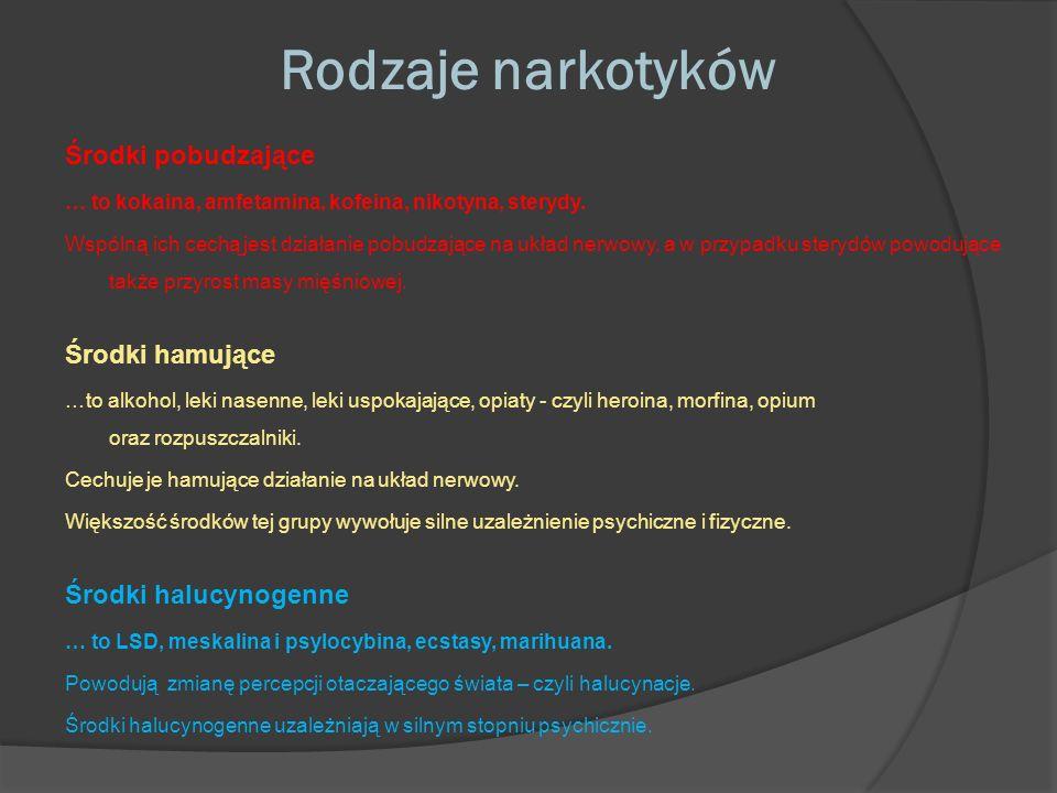 Rodzaje narkotyków Środki pobudzające Środki hamujące