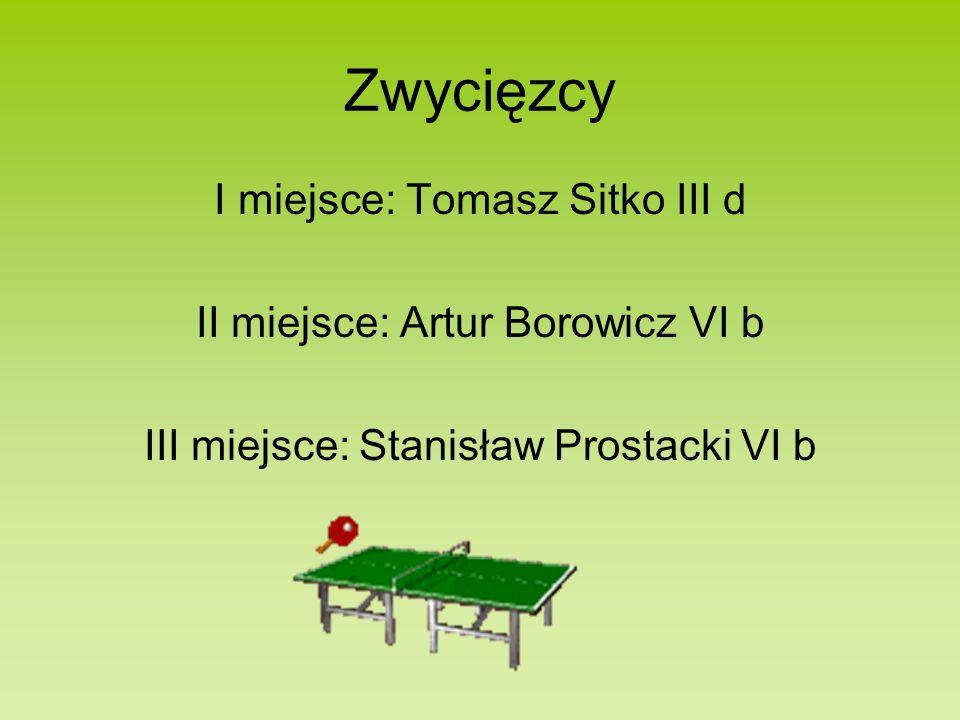 Zwycięzcy I miejsce: Tomasz Sitko III d