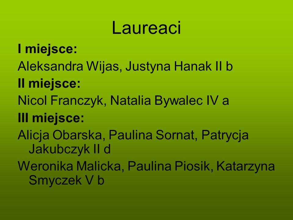 Laureaci I miejsce: Aleksandra Wijas, Justyna Hanak II b II miejsce:
