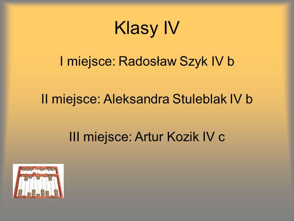 Klasy IV I miejsce: Radosław Szyk IV b