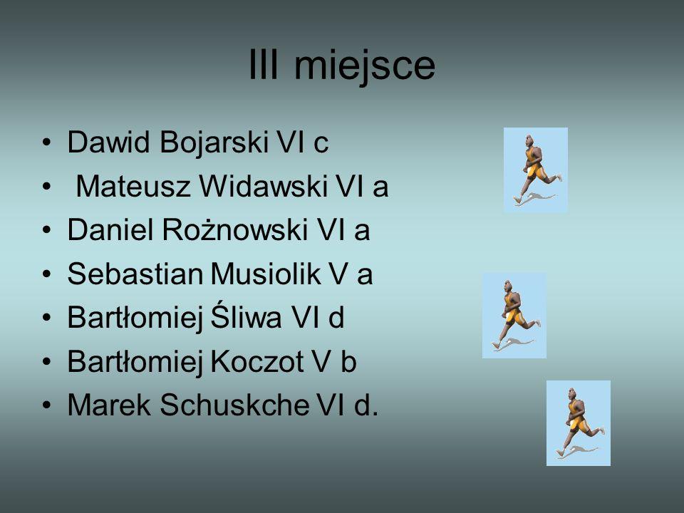 III miejsce Dawid Bojarski VI c Mateusz Widawski VI a