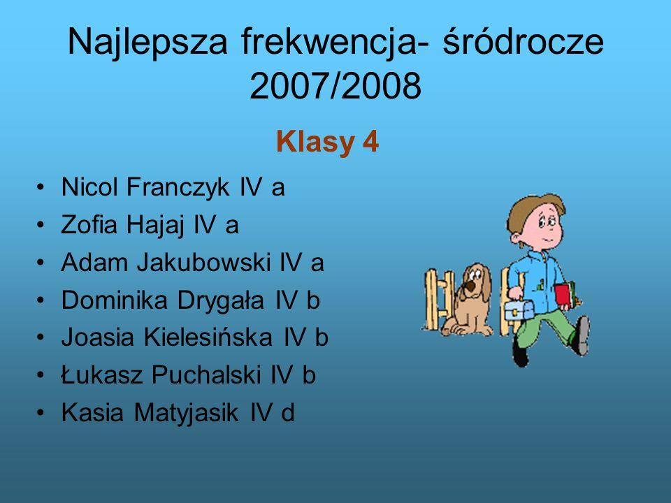 Najlepsza frekwencja- śródrocze 2007/2008