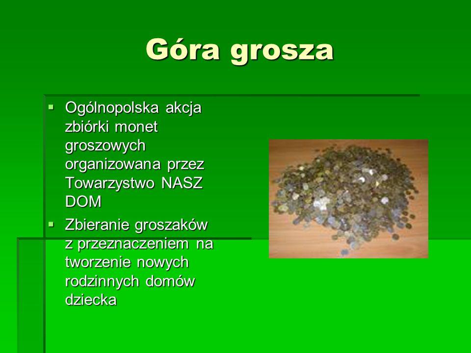 Góra grosza Ogólnopolska akcja zbiórki monet groszowych organizowana przez Towarzystwo NASZ DOM.