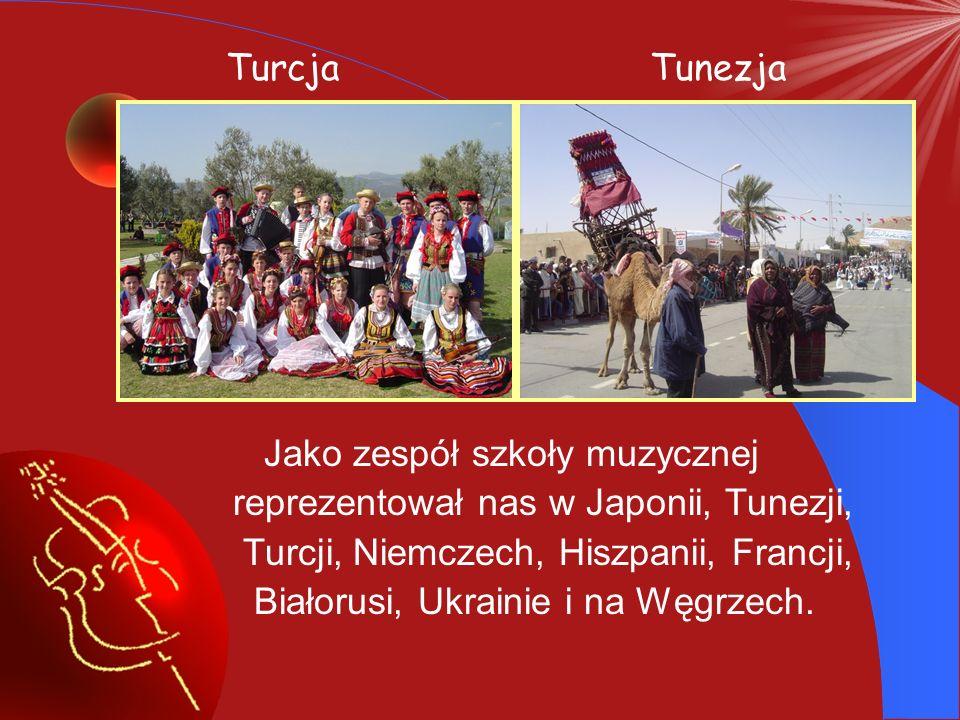 Turcja Tunezja. Jako zespół szkoły muzycznej. reprezentował nas w Japonii, Tunezji, Turcji, Niemczech, Hiszpanii, Francji,