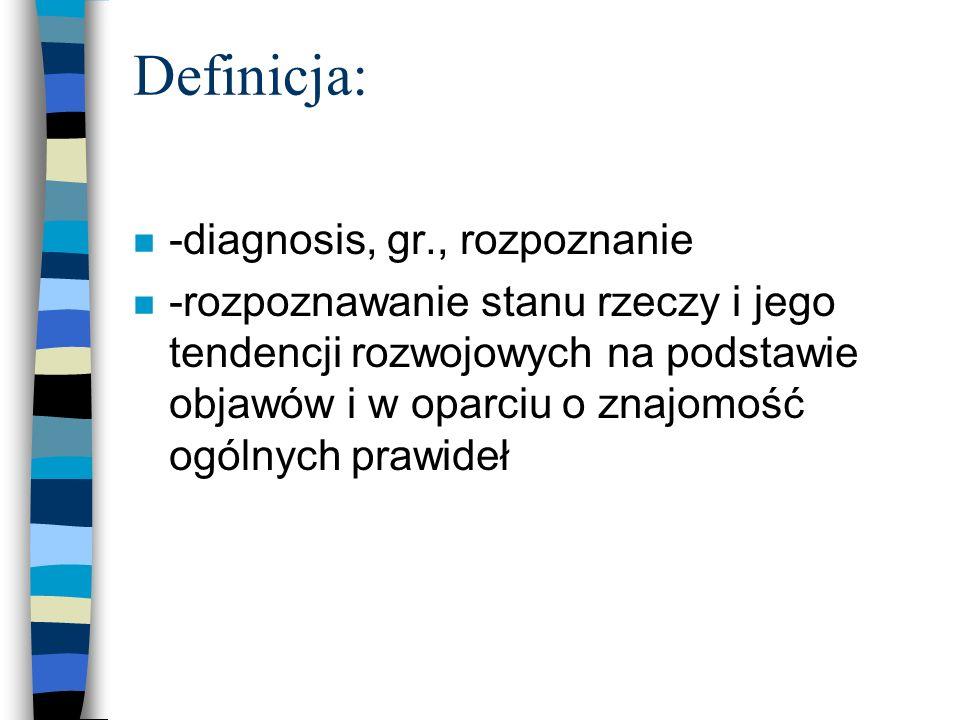 Definicja: -diagnosis, gr., rozpoznanie