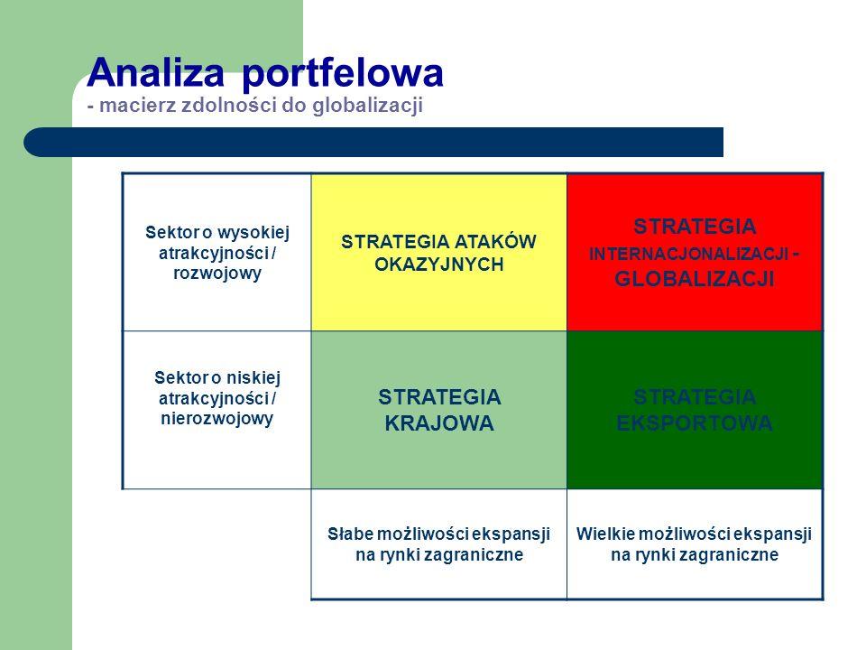 Analiza portfelowa - macierz zdolności do globalizacji