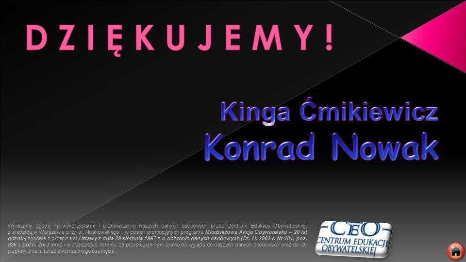 D Z I Ę K U J E M Y ! Kinga Ćmikiewicz Konrad Nowak