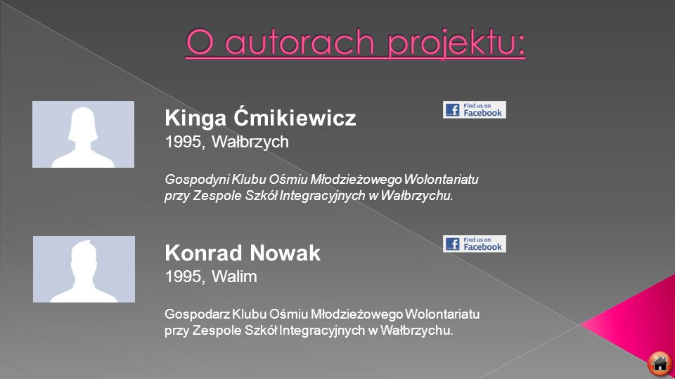 O autorach projektu: Kinga Ćmikiewicz Konrad Nowak 1995, Wałbrzych