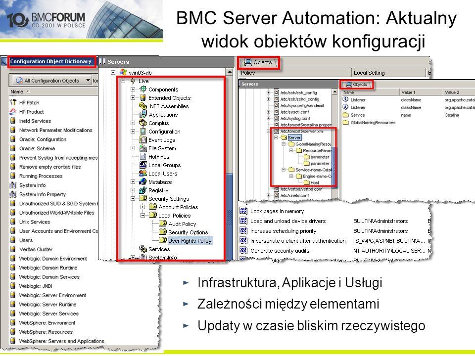 BMC Server Automation: Aktualny widok obiektów konfiguracji
