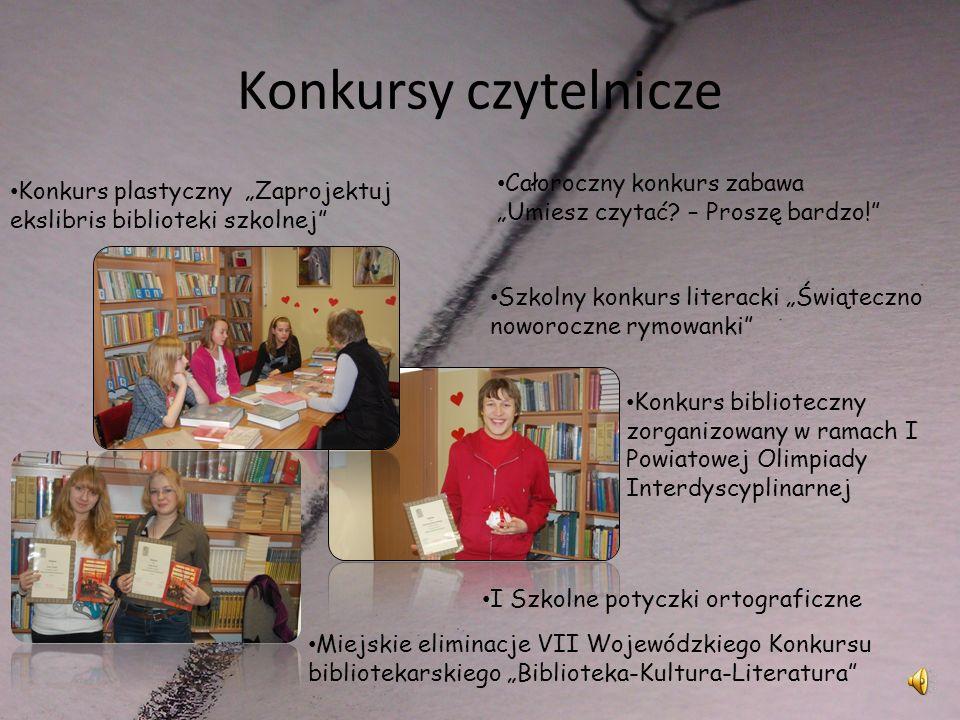 """Konkursy czytelnicze Całoroczny konkurs zabawa """"Umiesz czytać – Proszę bardzo! Konkurs plastyczny """"Zaprojektuj ekslibris biblioteki szkolnej"""