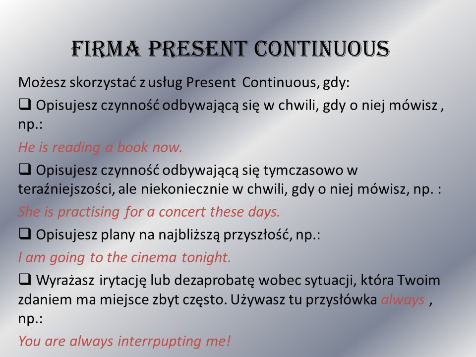 FIRMA PRESENT CONTINUOUS