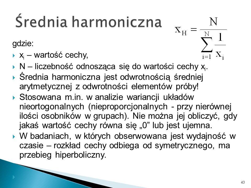 Średnia harmoniczna gdzie: xi – wartość cechy, N – liczebność odnosząca się do wartości cechy xi.