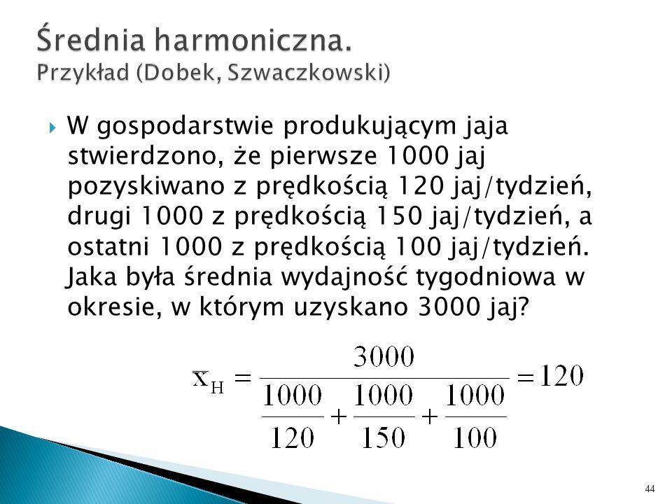 Średnia harmoniczna. Przykład (Dobek, Szwaczkowski)