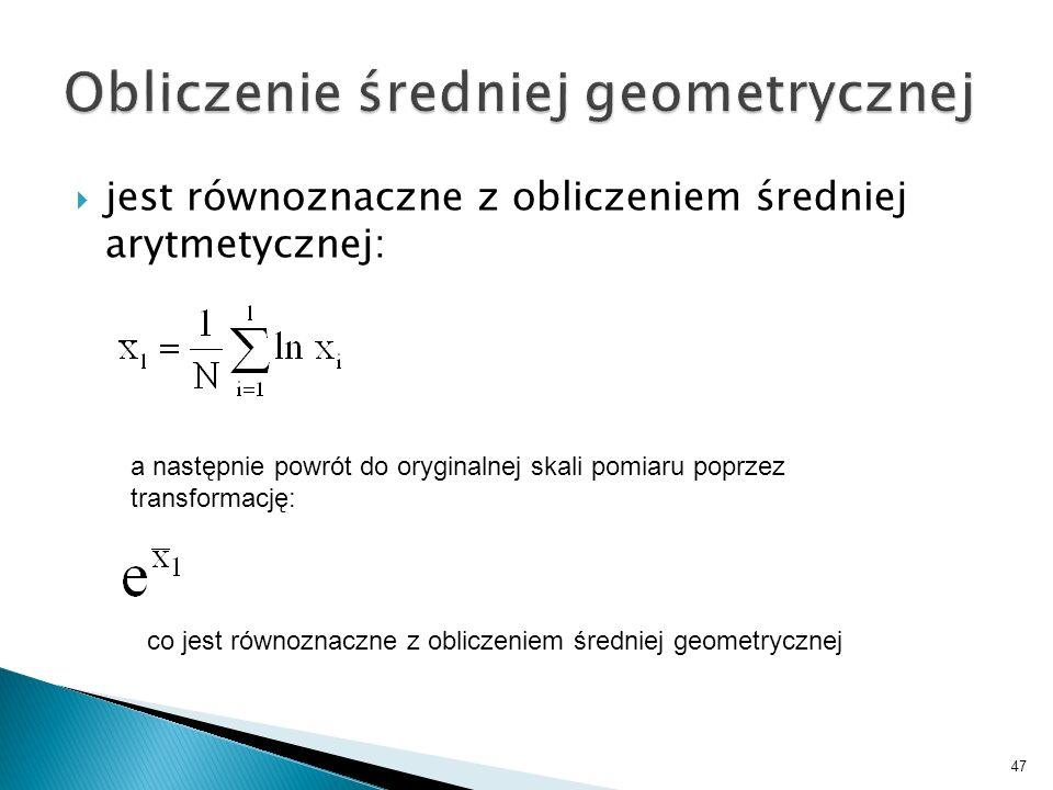 Obliczenie średniej geometrycznej