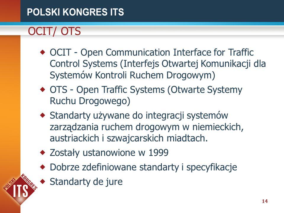 OCIT/ OTS OCIT - Open Communication Interface for Traffic Control Systems (Interfejs Otwartej Komunikacji dla Systemów Kontroli Ruchem Drogowym)