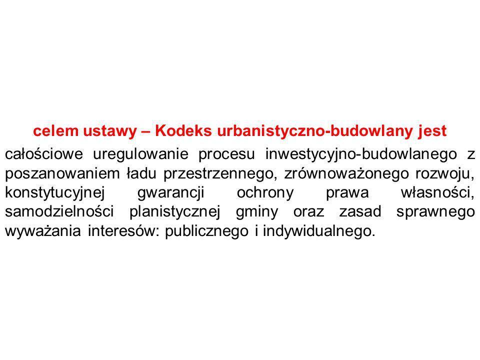 celem ustawy – Kodeks urbanistyczno-budowlany jest