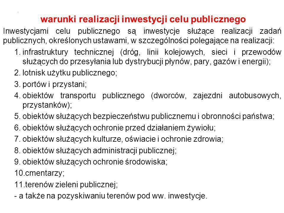 warunki realizacji inwestycji celu publicznego