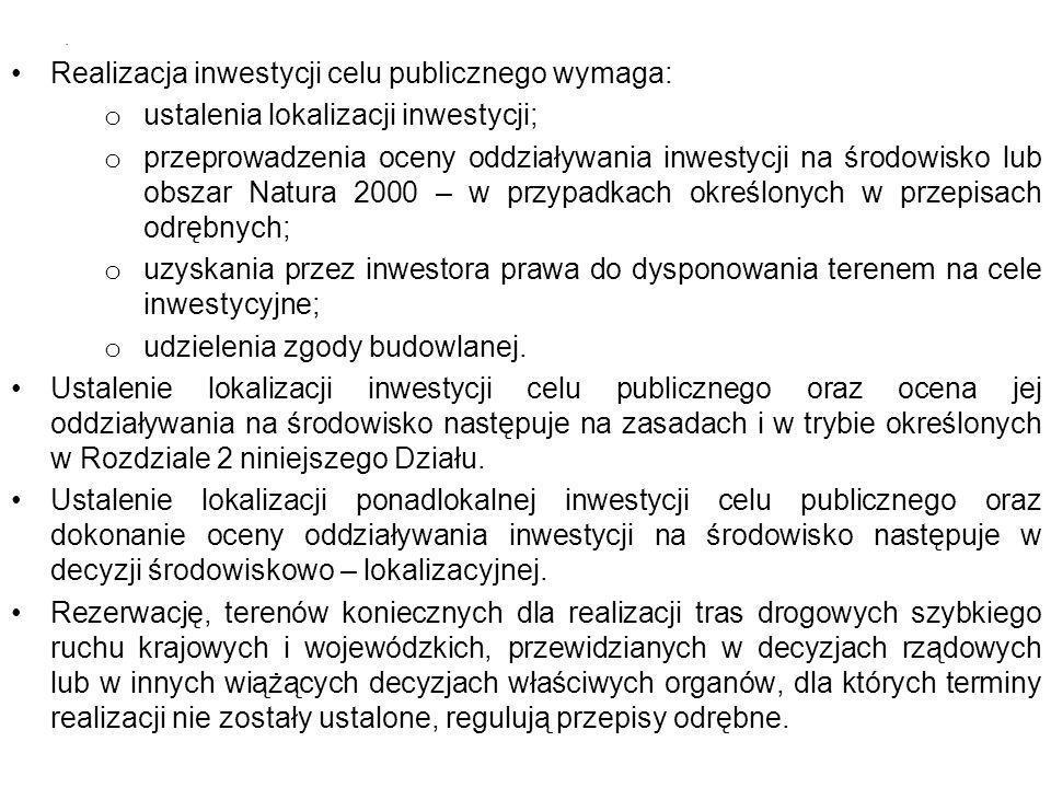 Realizacja inwestycji celu publicznego wymaga: