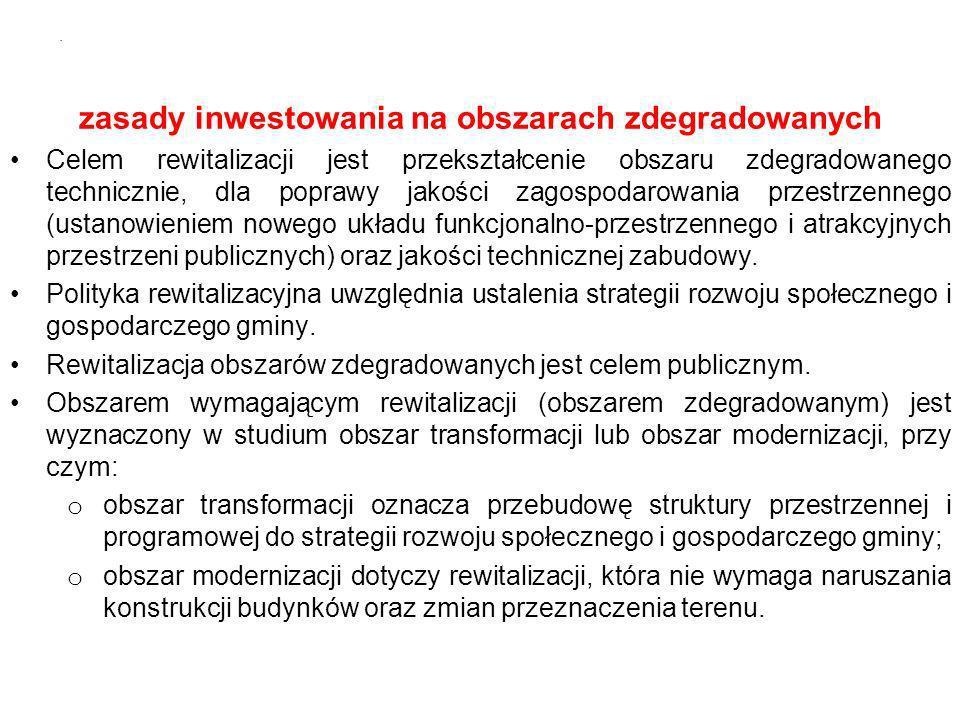 zasady inwestowania na obszarach zdegradowanych