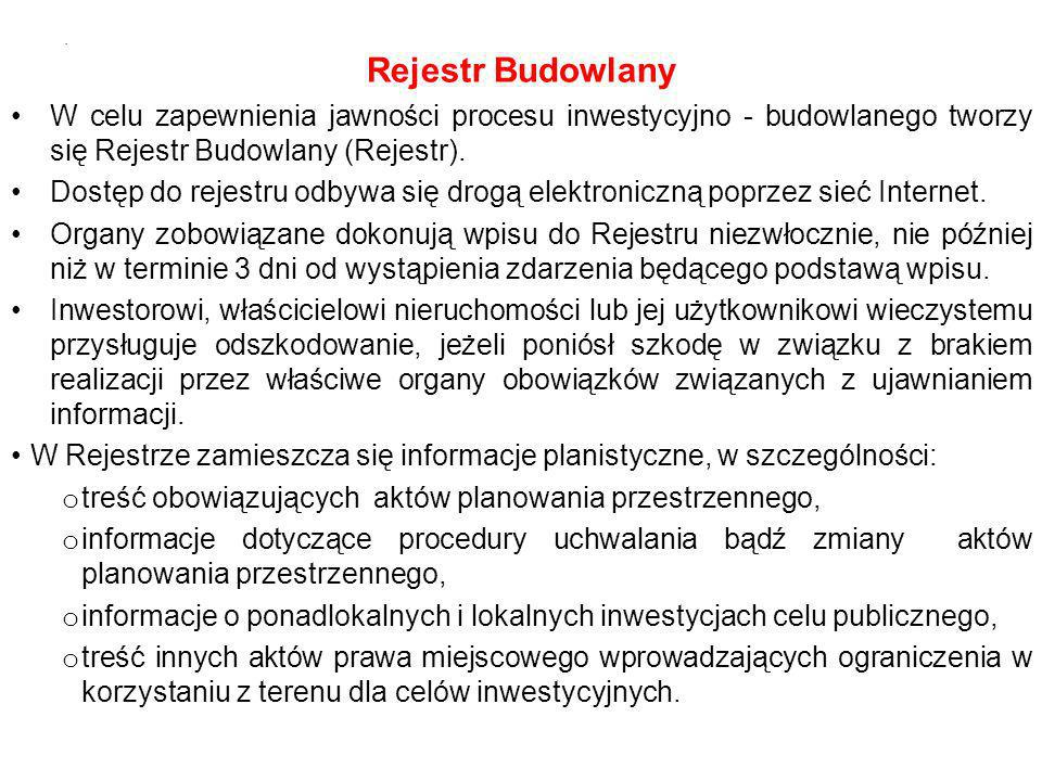 Rejestr Budowlany W celu zapewnienia jawności procesu inwestycyjno - budowlanego tworzy się Rejestr Budowlany (Rejestr).