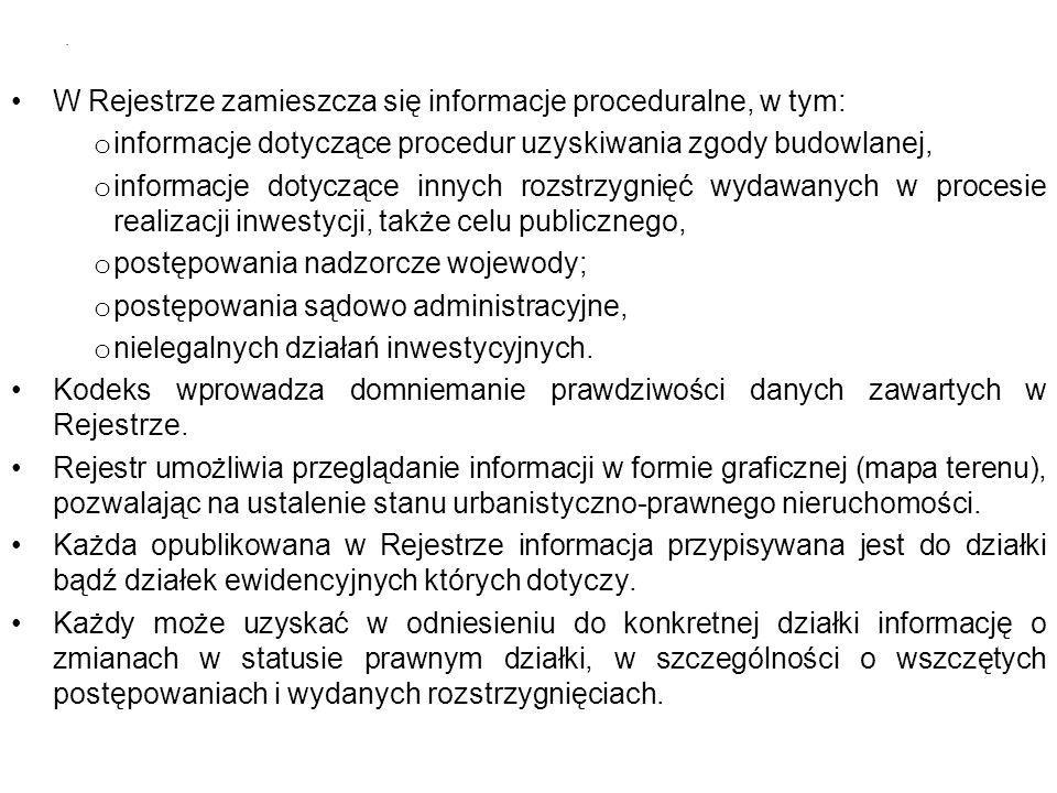 W Rejestrze zamieszcza się informacje proceduralne, w tym: