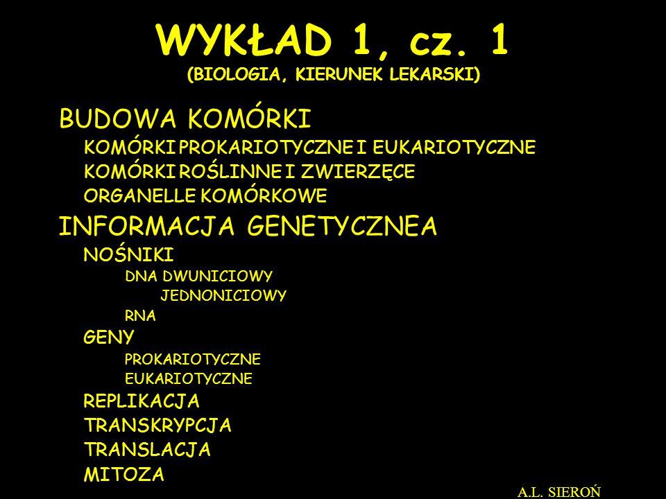 WYKŁAD 1, cz. 1 (BIOLOGIA, KIERUNEK LEKARSKI)
