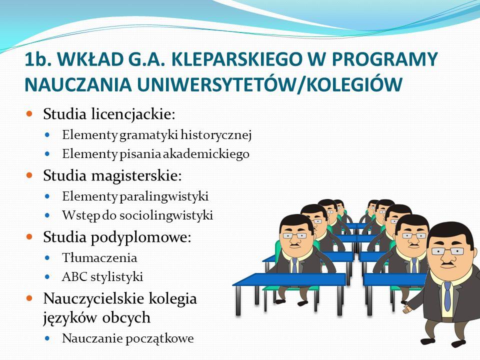 1b. WKŁAD G.A. KLEPARSKIEGO W PROGRAMY NAUCZANIA UNIWERSYTETÓW/KOLEGIÓW
