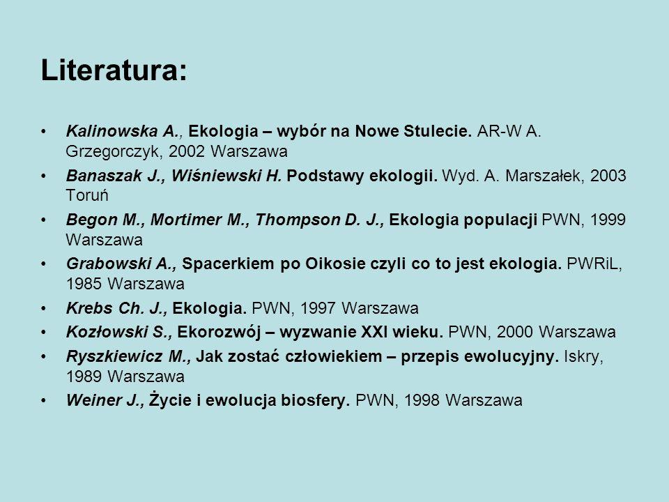 Literatura: Kalinowska A., Ekologia – wybór na Nowe Stulecie. AR-W A. Grzegorczyk, 2002 Warszawa.