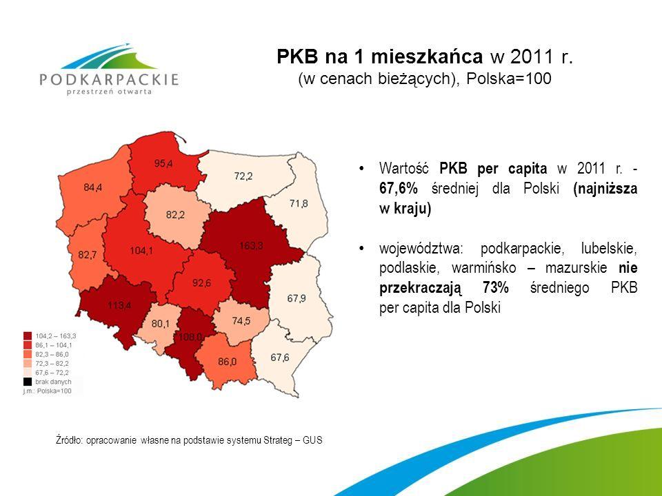 PKB na 1 mieszkańca w 2011 r. (w cenach bieżących), Polska=100