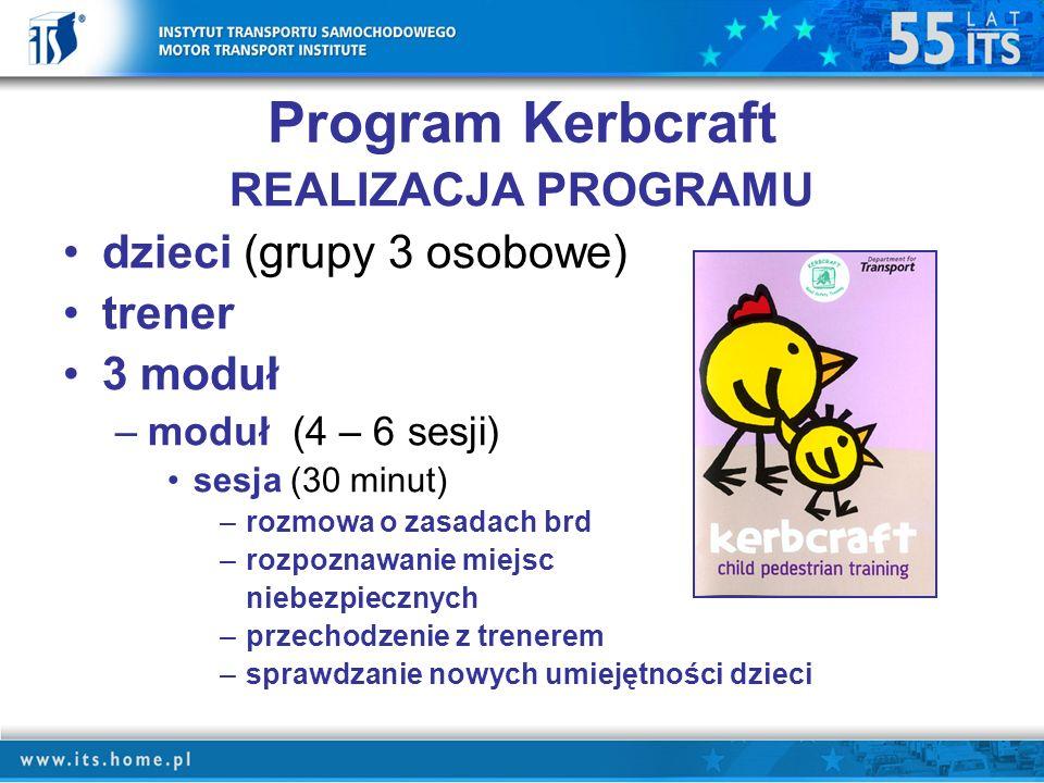 Program Kerbcraft REALIZACJA PROGRAMU dzieci (grupy 3 osobowe) trener