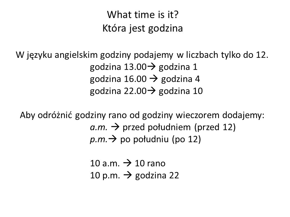 What time is it Która jest godzina