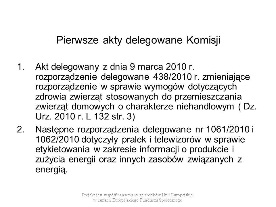 Pierwsze akty delegowane Komisji