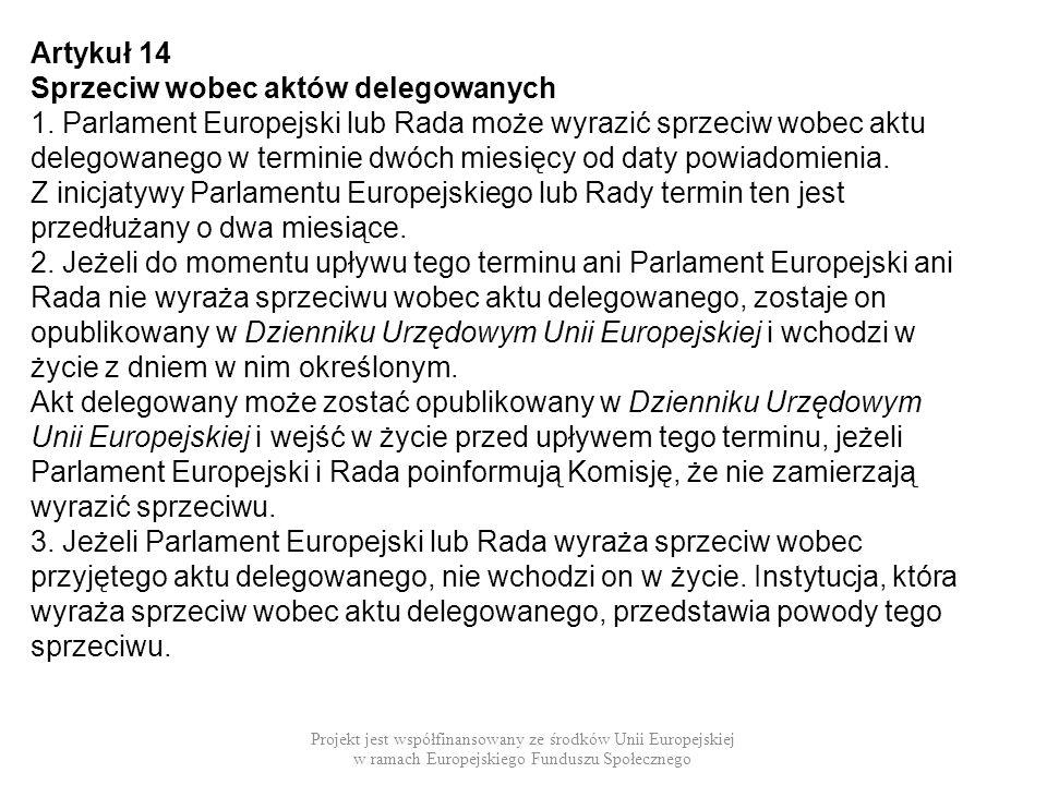 Sprzeciw wobec aktów delegowanych