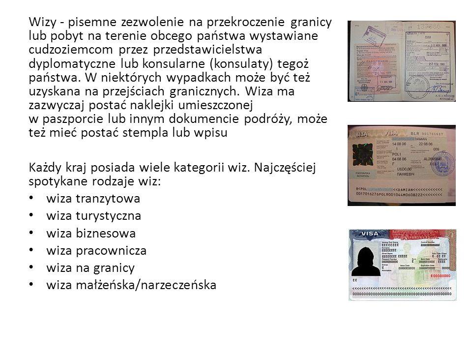 Wizy - pisemne zezwolenie na przekroczenie granicy lub pobyt na terenie obcego państwa wystawiane cudzoziemcom przez przedstawicielstwa dyplomatyczne lub konsularne (konsulaty) tegoż państwa. W niektórych wypadkach może być też uzyskana na przejściach granicznych. Wiza ma zazwyczaj postać naklejki umieszczonej w paszporcie lub innym dokumencie podróży, może też mieć postać stempla lub wpisu