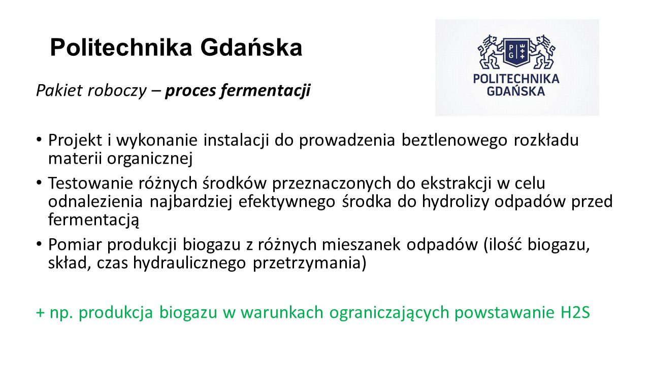 Politechnika Gdańska Pakiet roboczy – proces fermentacji