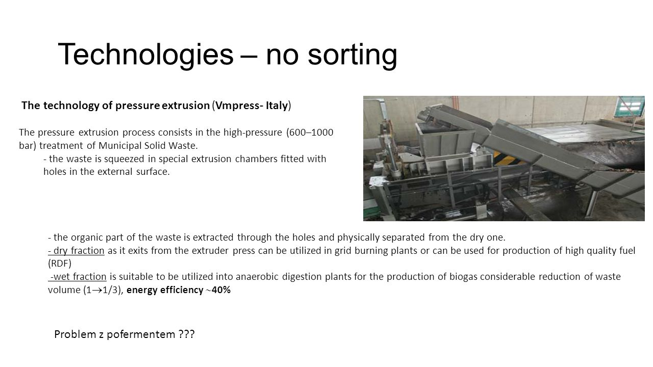 Technologies – no sorting