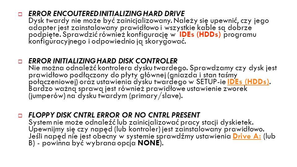 ERROR ENCOUTERED INITIALIZING HARD DRIVE Dysk twardy nie może być zainicjalizowany. Należy się upewnić, czy jego adapter jest zainstalowany prawidłowo i wszystkie kable są dobrze podpięte. Sprawdzić również konfigurację w IDEs (HDDs) programu konfiguracyjnego i odpowiednio ją skorygować.