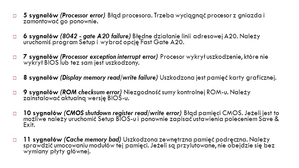 5 sygnałów (Processor error) Błąd procesora