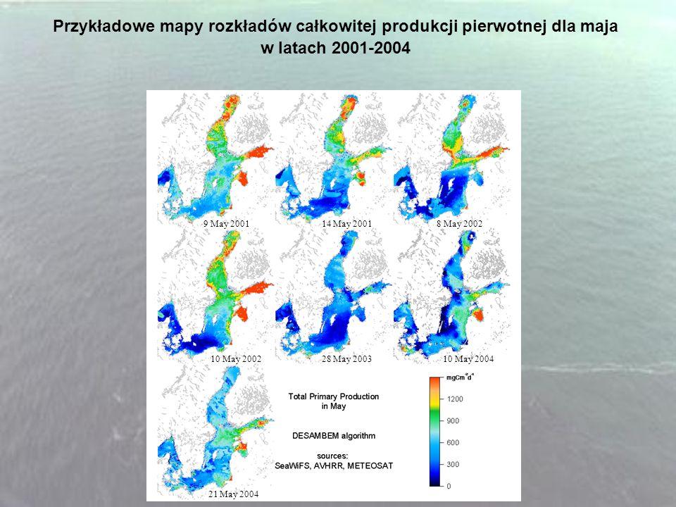 Przykładowe mapy rozkładów całkowitej produkcji pierwotnej dla maja w latach 2001-2004