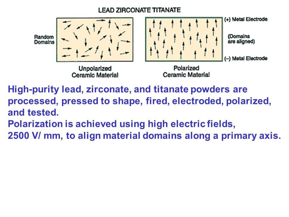 High-purity lead, zirconate, and titanate powders are