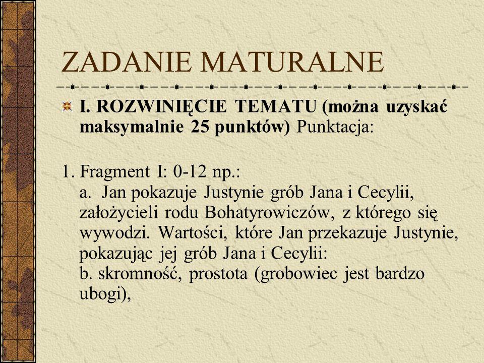 ZADANIE MATURALNE I. ROZWINIĘCIE TEMATU (można uzyskać maksymalnie 25 punktów) Punktacja:
