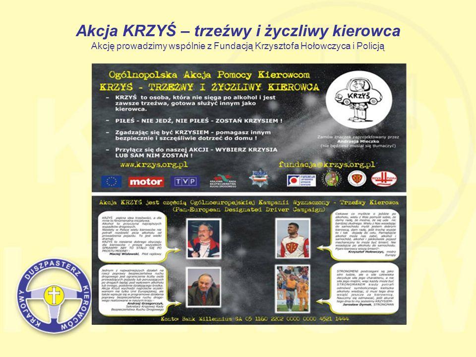 Akcja KRZYŚ – trzeźwy i życzliwy kierowca Akcję prowadzimy wspólnie z Fundacją Krzysztofa Hołowczyca i Policją