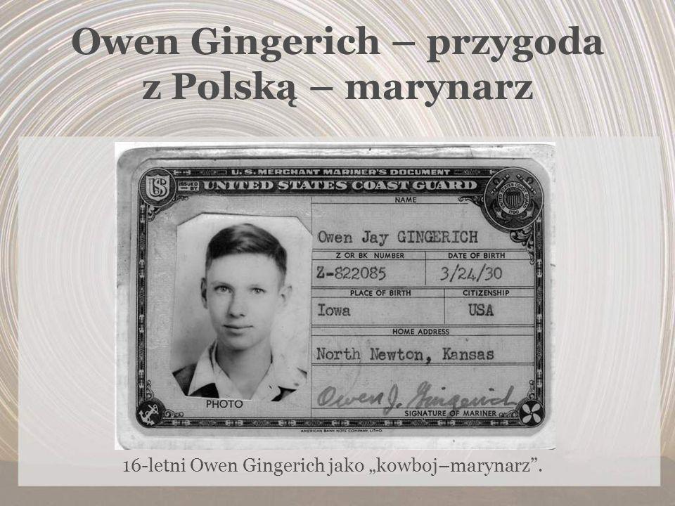 Owen Gingerich – przygoda z Polską – marynarz