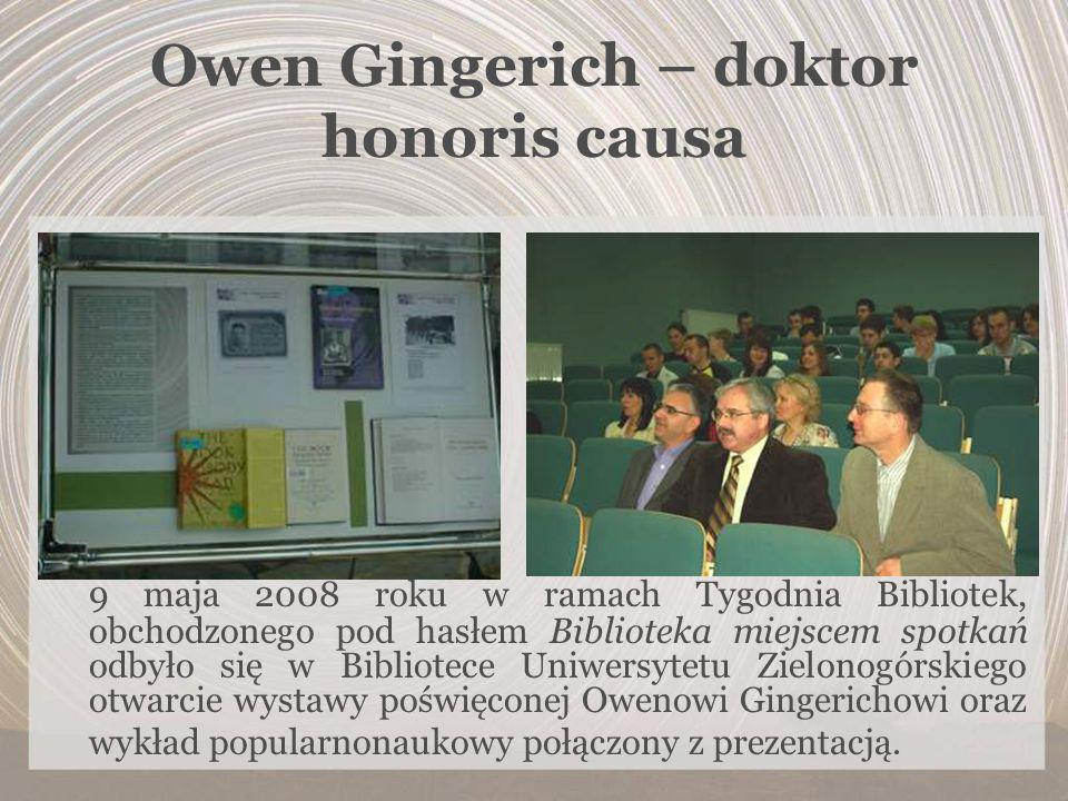Owen Gingerich – doktor honoris causa