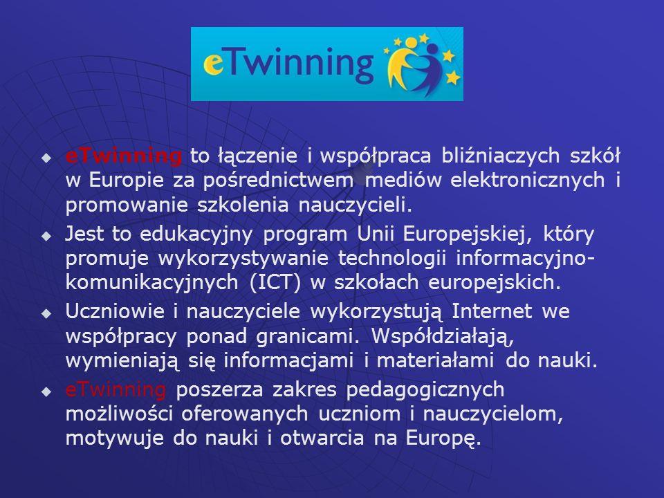 eTwinning to łączenie i współpraca bliźniaczych szkół w Europie za pośrednictwem mediów elektronicznych i promowanie szkolenia nauczycieli.