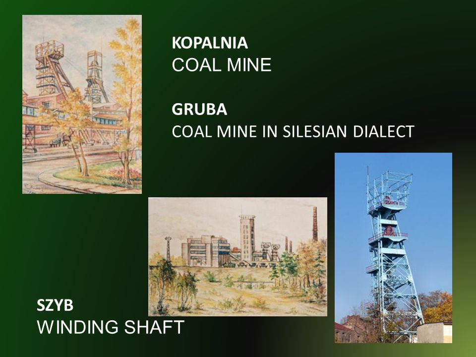 KOPALNIA COAL MINE GRUBA COAL MINE IN SILESIAN DIALECT SZYB WINDING SHAFT